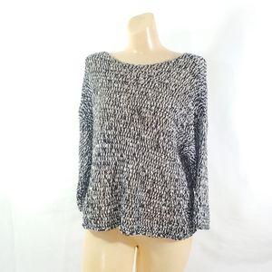 Eileen Fisher sweater open twist knit black white